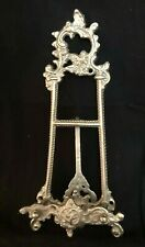 Ornate Silver Metal Table Top Easel Picture Plate Stand Display Vintage French
