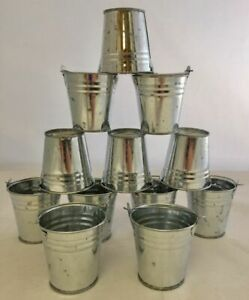 Set of 12 Mini Buckets * Metal * Silver * Party Favors * Table Decorations * New