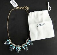 J Crew Statement Pinecone  Necklace F9951 Turquoise Blue Gray Includes Bag