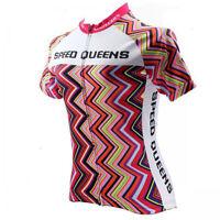 Women Cycling Clothing Short Sleeve Bicycle Jerseys Jacket Lady Bike Top Rainbow