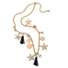 Crystal Glass Star Black Tassel Fringe Alloy Gold Tone Dangle Necklace
