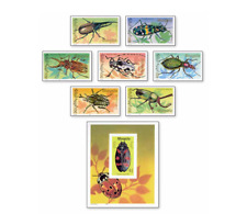 MNG9108 Insects 7 pcs. and block.MNH MONGOLIA 1991