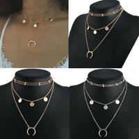 Women Vintage Multilayer Chain Choker Chunky Necklace Charm Pendant Jewelry Gift