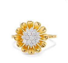 1/3Ct I1-2 Graded Diamond 3D Flower 14K Yellow Gold Plate Silver Ring Size N-O/7