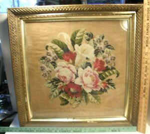 20x20 VICTORIAN NEEDLEPOINT PANEL w/ORNATE ANTIQUE GILT SHADOWBOX PICTURE FRAME