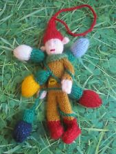 HAND KNITTED XMAS LIGHTS ELF TREE DECORATION? 8 INCHES TALL