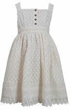 Bonnie Jean Easter Girls Ivory Crotchet Lace Flower Dressy Dress 7 8 10 12 14 16