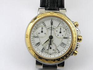 Vintage Gold Plated Men's Rotary Khalif GS7104 ETA Chrono Watch - 50m