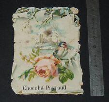 CHROMO 1890-1910 CHOCOLAT CACAO PAYRAUD PARIS FLEURS OISEAU