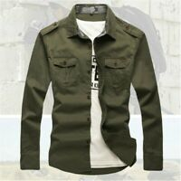 Men Military Army Shirt Tactical Long Sleeve Cargo Button Down Cotton Top Casual