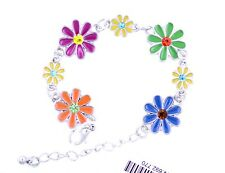 Colourful enamel and crystal daisy chain bracelet