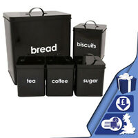 5pc Retro Bread Bin Storage Canisters Set Sugar Coffee Tea Metal Enamel Coating