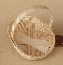 Single Bamboo Basket 7cm x 5.5cm x 1.4cm Deep Dolls House Miniature Accessory U