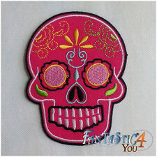 HEAD PINK SKULL SKELETON NEW ROCK LOGO BIKER APPLIQUE EMBROIDERED IRON ON PATCH