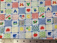 BLOCKS WITH DIAPER PINS, RATTLES & BOOTIES COTTON FABRIC    BY THE YARD