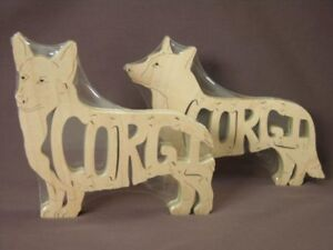 Corgi Pembroke Dog Wood Toy Scroll Puzzle Figurine Art