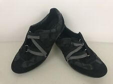 Coach CC Juli Monogram Black Gray Velcro Strap Fashion Sneakers - SZ 7.5