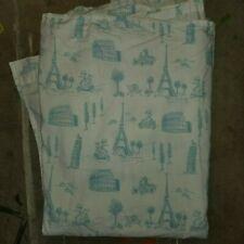 "Pottery Barn Kids ""Priscilla - Paris/Rome Blue"" Twin Flat Sheet"