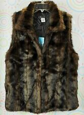 New Women Faux Fur Waistcoat Gilet Sleeveless Vest Jacket Size M Medium NWT