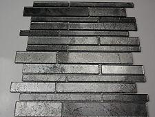 Pâte de verre Effet Carrellage Mosaïque transparent Métal noir gris argenté