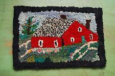 old Primitive Early antique tiny hooked rug handmade farmhouse farm barn scene