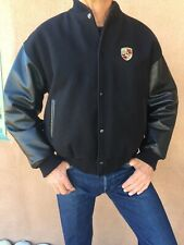 Porsche Black Leather/Wool Large Men's Bomber Jacket