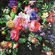 Paper Napkins x4 for Decoupage Craft Scrapbooking Colourful Colorful Flowers 577