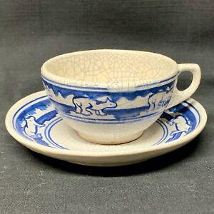 DEDHAM Polar Bears Cup and Saucer ~   c1920