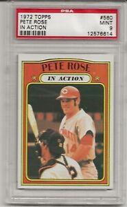 1972 TOPPS #560 PETE ROSE, PSA 9 MINT,  CINCINNATI REDS, CENTERED,IN ACTION,L@@K