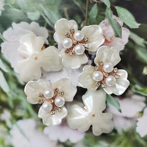4PCS Acrylic Flower Pearl Rhinestone Flatback Cab Decor Ornament Embellishment