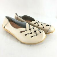 Womens Leather Loafers Flats Woven Slip On Beige Shoes Size 41 US 9