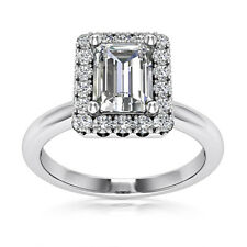 Halo Pave 1.12 Carat SI2/D Emerald Cut Diamond Engagement Ring White Gold