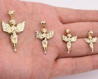 Diamond Cut Praying Angel Charm Pendant Real SOLID 10K Yellow Gold