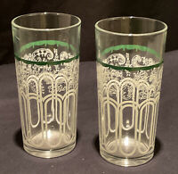 2 VINTAGE RETRO USED GLASS TUMBLER LEMONADE WATER SWAGS DRINK COCKTAIL BAR GREEN