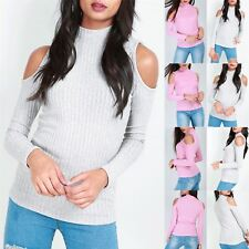 Womens Ladies Long Sleeve Polo High Neck Ribbed Fine Knitted T Shirt Jumper Top