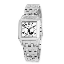 Disney® Ladies' 30MM Mickey Mouse Square Stainless Steel Wrist Watch NEW in BOX