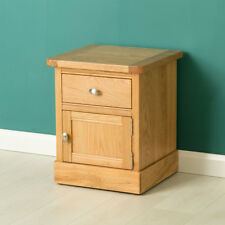 Hampshire Oak Side Table with Cupboard / Light Solid Wood Lamp Table / Bedside