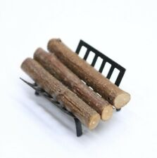 NEW 1/12th Scale Dolls House Miniatures Fire Logs In Metal Basket Holder