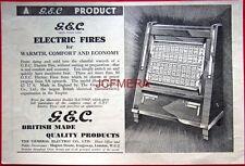 Original Art Deco 1936 G.E.C. Electric Fires AD - Vintage Print ADVERT