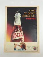 PEPSI COLA Original Turkish Magazine Ad 1970s Beverage SODA Vintage VERY RARE
