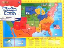 USA States & Capitals Wooden Puzzle Ages 3+