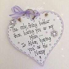 Handmade Personalised Plaque Mum Nan Grandma Nana Keepsake Gift Heart