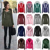 Winter Womens Zipper Hoodies Hooded Ladies Slim Fit Coat Jacket Tops Outwear