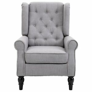 Fabric Tufted Accent Armchair Grey