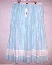 Ellen Tracy Skirt Sz 8 Linen Blue & White Cotton Dress Full Ski  M  New $258