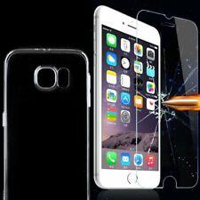 Silikon TPU Hülle Transparent + Schutz Hart Glas Handy Case Klar Displayschutz