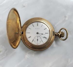 Antique 1914 Elgin Gold Filled Case Pocket Watch 6s ~ 7j ~ 2-F1053