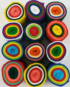 12 Multi Random 5 coloured Crepe paper decoration EACH Streamer 45mm x 10m