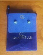 Charmelle Pierced Earrings Silvertone Faux Diamond Flower Cluster