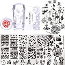 5Pcs Nail Stamping Plates Stamper Scraper Christmas Nail Art Kit Born Pretty